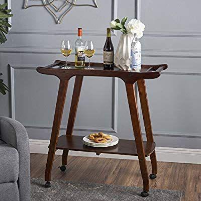 Amazon com callan mid century modern rich mahogany acacia wood bar cart home