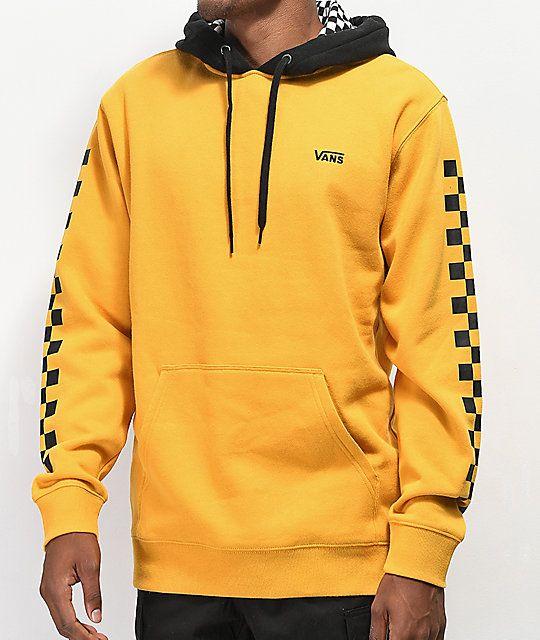 8837c2f2 Vans Contrasting Checkered Gold & Black Hoodie #blackandyellow #Yellow  #yellowhoodie #yellowclothing #black #checkers #checkered #grunge #grungeboy