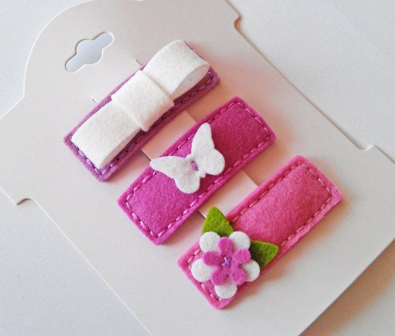 MIX OF PINKS. Set of 3 Felt Hair Clips. Made in 100 Pecent Wool. Baby. Girls. Scalloped Hair Clips.