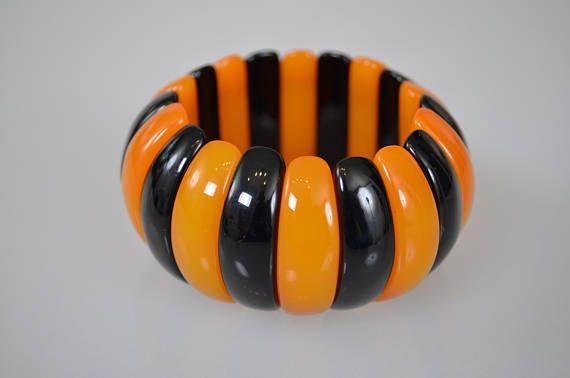 French designer vintage Expandable Resin bracelet Amber black