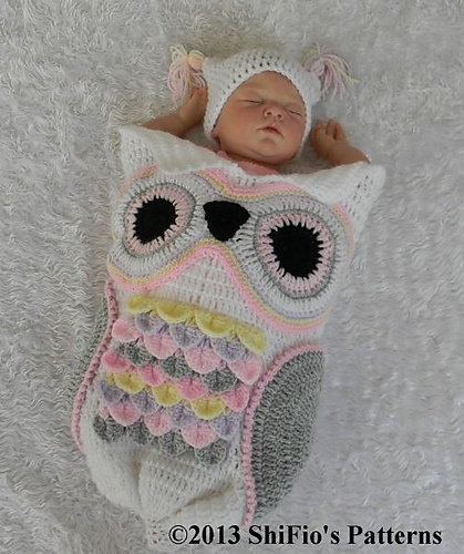 Ravelry: 245- Owl Cocoon Baby Crochet Pattern #245 pattern by ShiFios Patterns