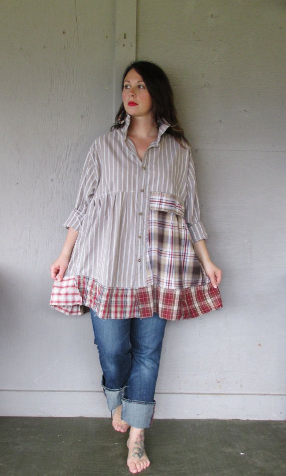 1 X 2 X 3 X upcycled tunic dress / oversize shirt / Boho Patchwork clothing / Funky tunic / Artsy farm girl shirt by LillieNoraDryGoods