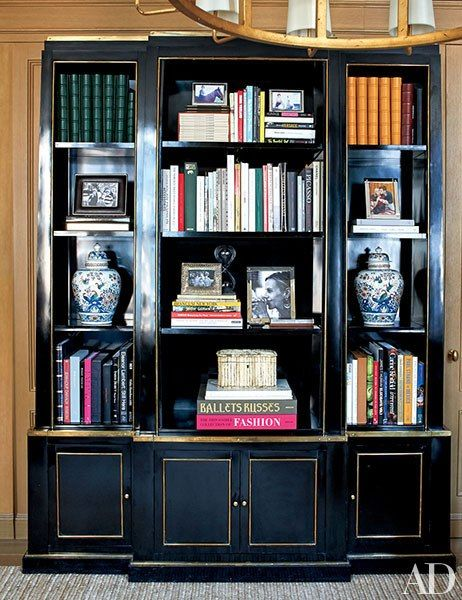 Designed for Count Rodolfo Crespi, the 1960s Howard Dilday bookshelf in Burch's office is from Gerald Bland.