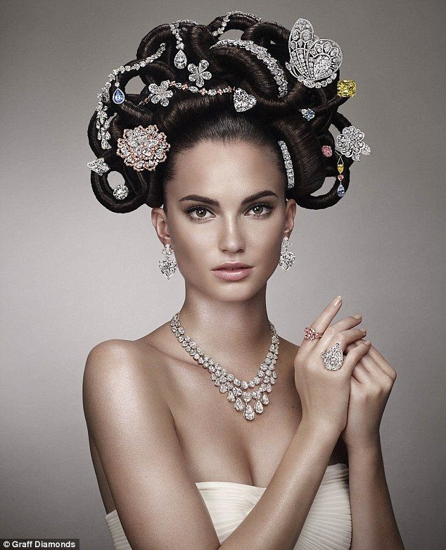 Model Dalia Gunther had her chignon outfitted with 22 rare jewels created at Graff¿s headquarters in London, inlcuding a 52.73-carat vivid y...