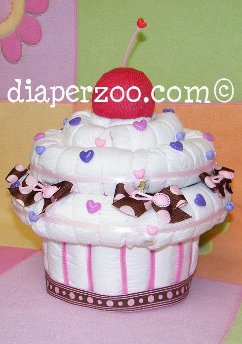 Tarta de pañales tipo cupcake