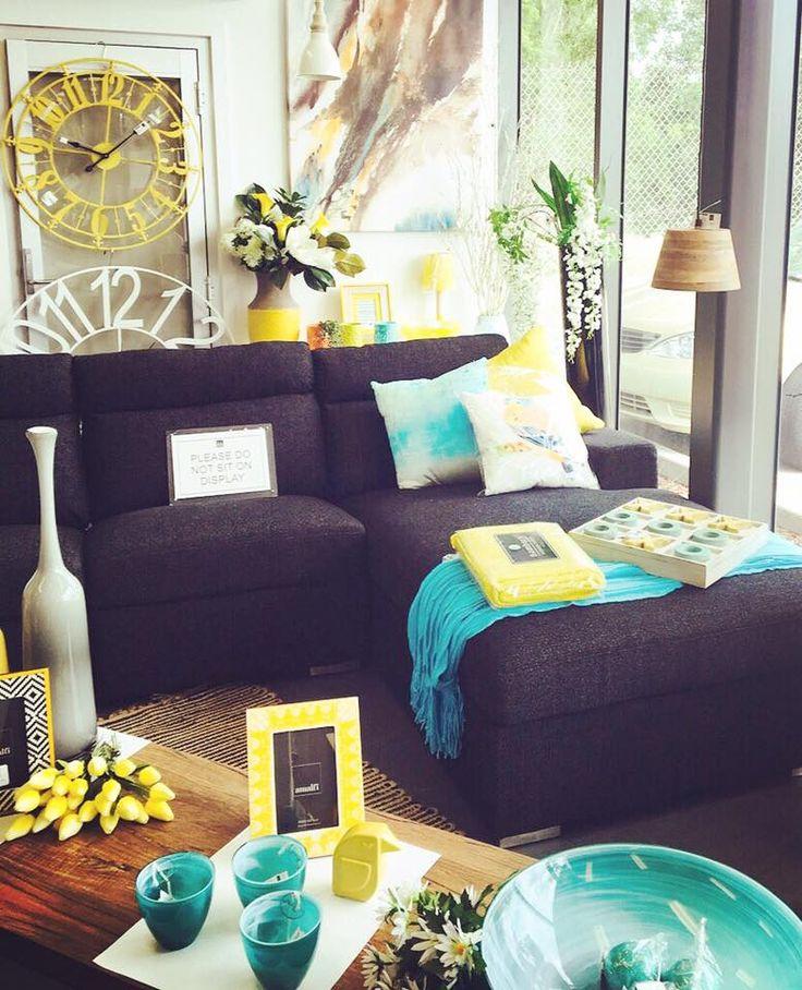 Yellow + Blue #homewares #home #furniture #interiors #dcbdesigns #shoplocal #yellow #blue #teal #aqua