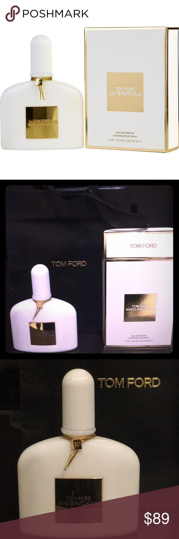 Tom Ford White Patchouli eau de parfum With its sensuous core of patchouli, Tom Ford White Patchouli perfectly captures the myth of a generation.  Surrounded by sleek wood notes, tempered by elegant white flowers, this modern fragrance with retro-classic influences is a sophisticated interpretation of bohemian chic.  Notes: bergamot, white peony, rose absolute, night blooming jasmine, patchouli Orpur, incense. Brand New, unused (plastic wrap was just removed) In Box with Tom Ford bag 1.7 oz…