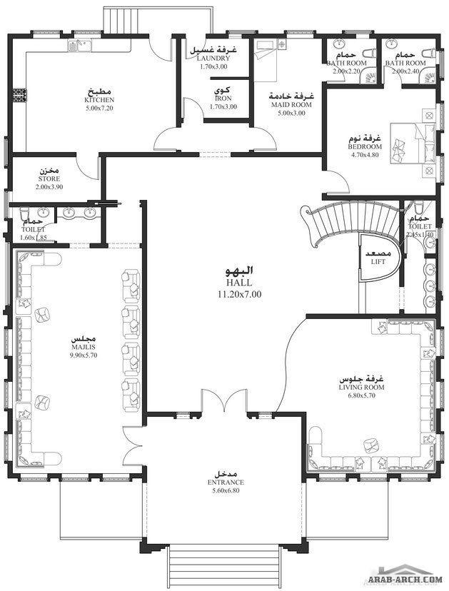 خرائط الفيلا 6 غرف نوم 788 متر مربع طابقين سكن Square House Plans My House Plans Family House Plans