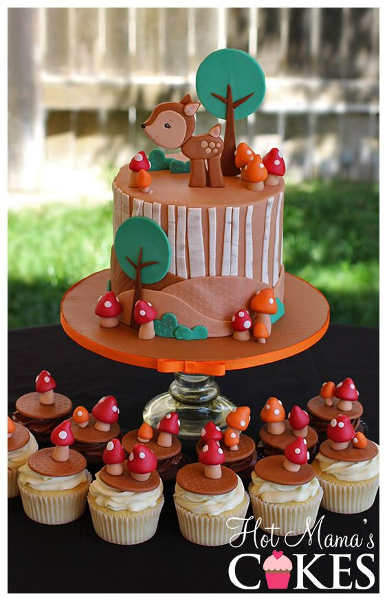 Woodland (forest) Baby Shower with mushroom cupcakes