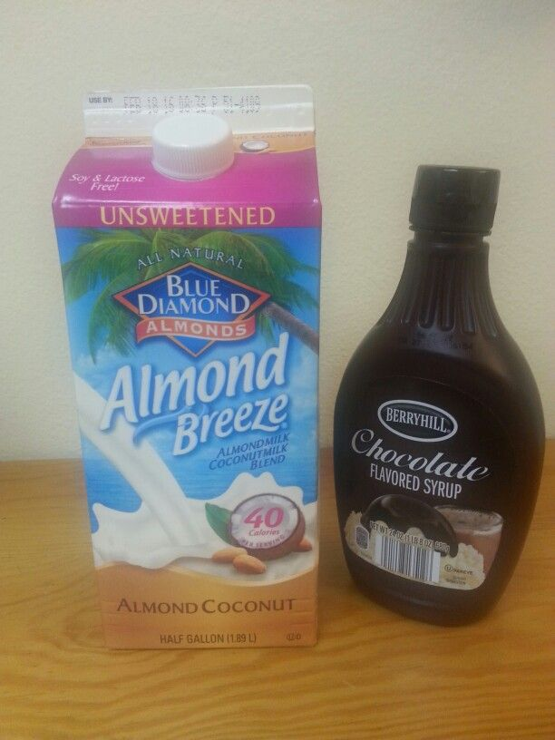 Blue Diamond unsweetened almond  coconut milk add syrup and you have a liquid Almond Joy