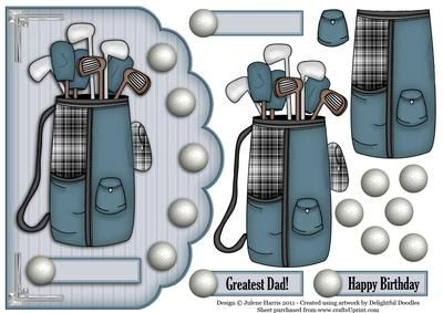 """Greatest Golfer Scalloped Edge Card on Craftsuprint designed by Julene Harris - This is the perfect companion to my """"Greatest Golfer"""" scalloped edge card. Fantastic card for the golf enthusiast! Please click on my name to view more of my designs. - Now available for download!"""