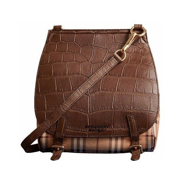 Burberry Small Bridle Bag in Alligator and Haymarket Check ($8,000) ❤ liked on Polyvore featuring bags, handbags, long strap purse, brown handbags, burberry crossbody, cross-body handbag and crossbody satchel