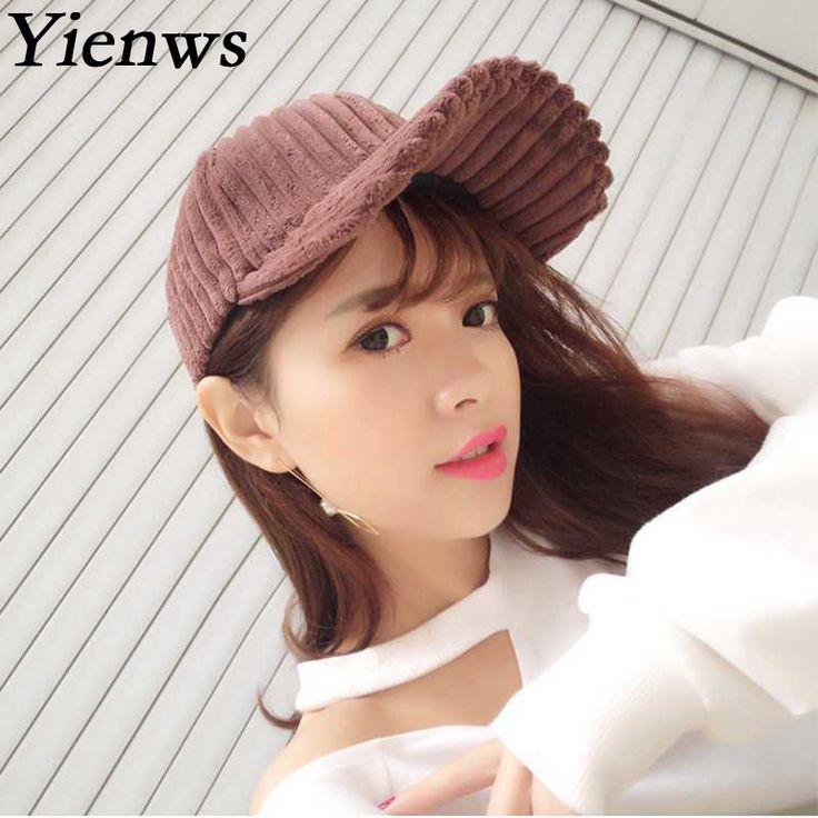 Yienws Khaki Baseball Cap For Women New Designer Corduroy Bone Masculino Casquette Hip Hop Gorras Planas C730