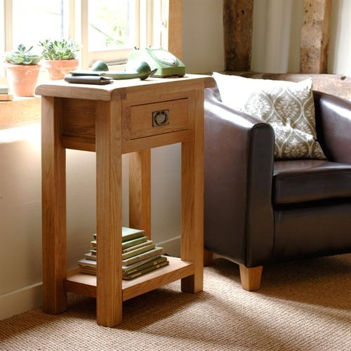 Lyon Oak Telephone Table (L414) with Free Delivery | The Cotswold Company (H)85 x (W)65 x (D)35cm £139