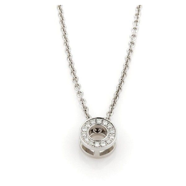 Pre-owned Hermes 18K White Gold Diamond Round Pendant Necklace (3,040 CAD) ❤ liked on Polyvore featuring jewelry, necklaces, round diamond pendant, white gold diamond necklace, white gold chain necklace, white gold necklace and white gold diamond pendant