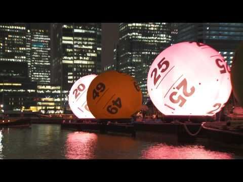 ▶ Giant National Lottery Balls sail down the River Thames - New Lotto - YouTube