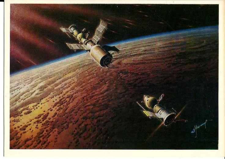 Art Space - Spaceship Firework - Docking of two Spacecraft - Vintage Russian Soviet Postcards Artist Sokolov unused by LucyMarket on Etsy