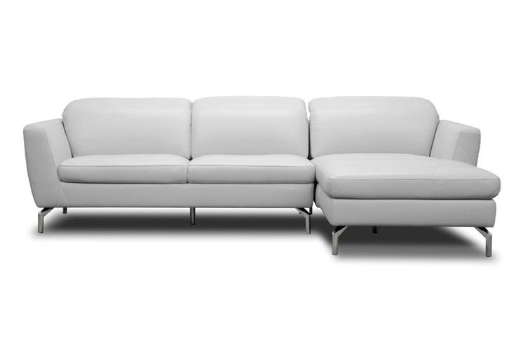 Geddis Leather Modern Sectional Sofa| Upper East Side ATX - Pale Gray sectional with adjustable headrest. So chic.