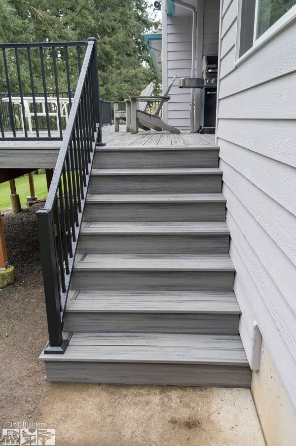 Deck Stairs To Patio Back Yard