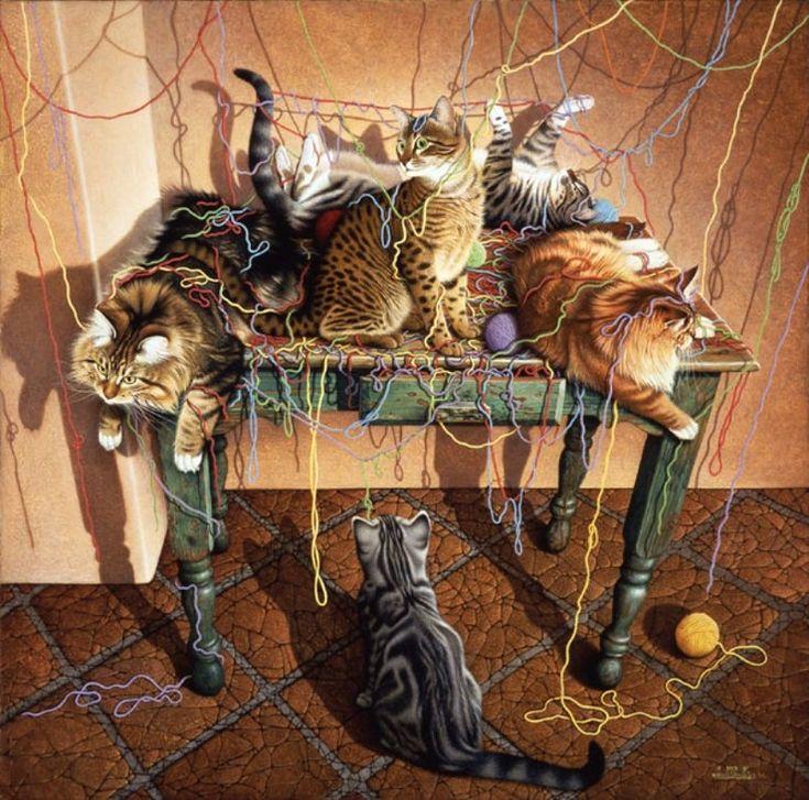Котята и кошки на картинах.