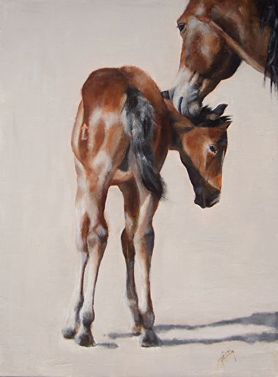 At the Babbit Ranch colt sales by Sarah Kennedy Oil ~ 12 x 9