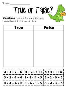 Balancing Equations True or False Cut & Paste -- stating true or false for…