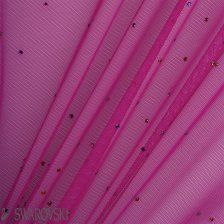 Buy Magenta Stretch Tulle with Swarovski Stones (800 Stones per Metre) online - Joel & Son Fabrics (London)