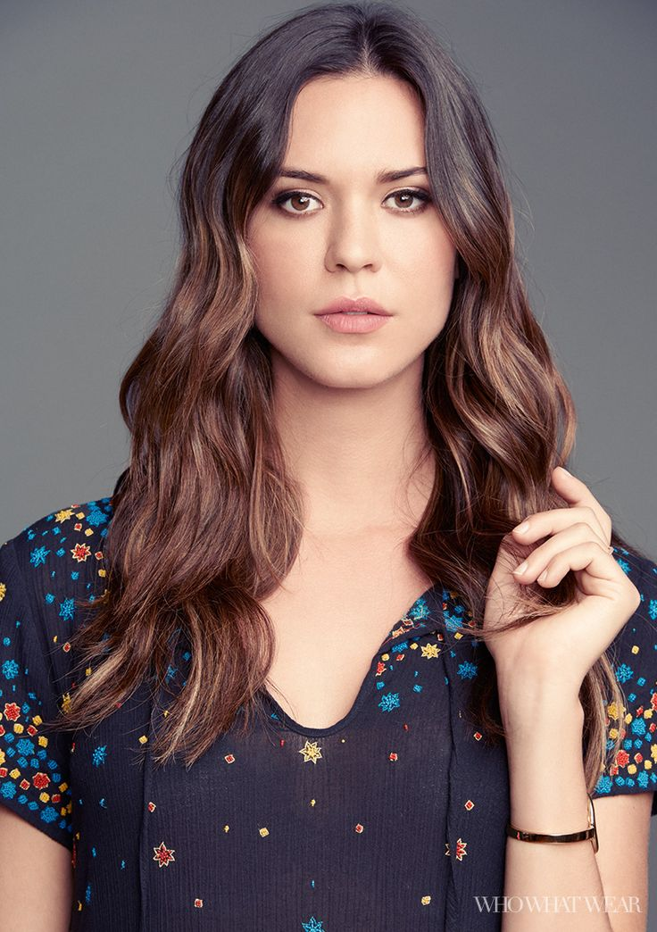 Odette Annable in a floral print dress