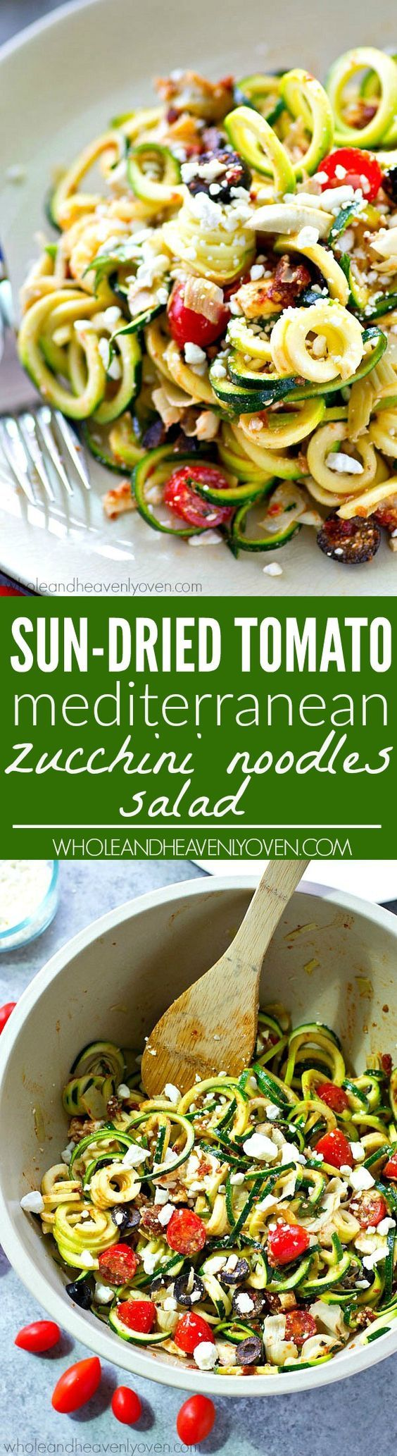 You won't be able to stop eating this flavorful zucchini noodles salad! Loaded with tons of fresh, healthy Mediterranean goodness and an unbelievable sun-dried tomato dressing. | Whole and Heavenly Oven