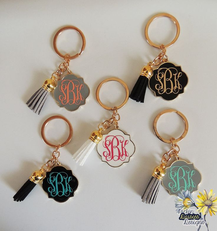 Quatrefoil Keychain, Monogrammed Keychain, Monogrammed Tassel Keychain, Personalized Keychain, Monogrammed Backpack Flair, Backpack Flair by PickinDaisiesDesigns on Etsy