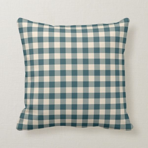 Off White Gingham Pattern Throw Pillow