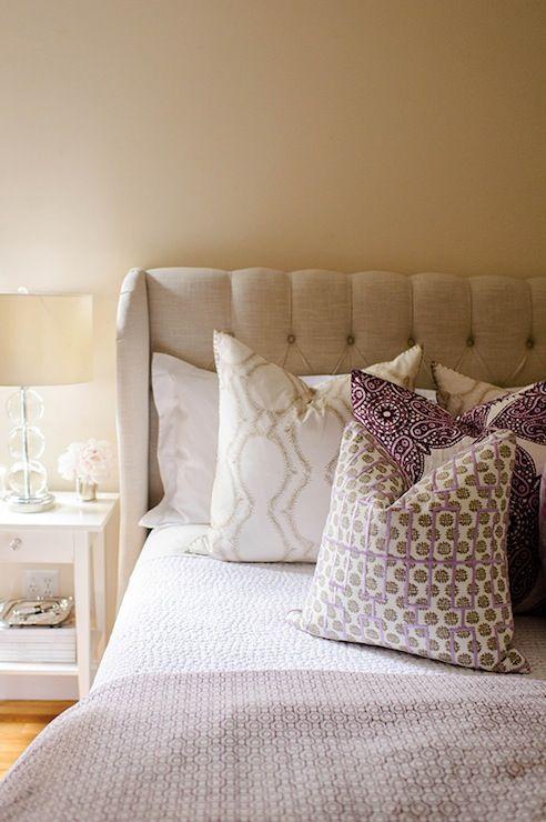 With Love From Kat - bedrooms - Ikea Hemnes Nightstand, pink and beige bedroom, linen headboard, linen wingback headboard, one kings lane he...