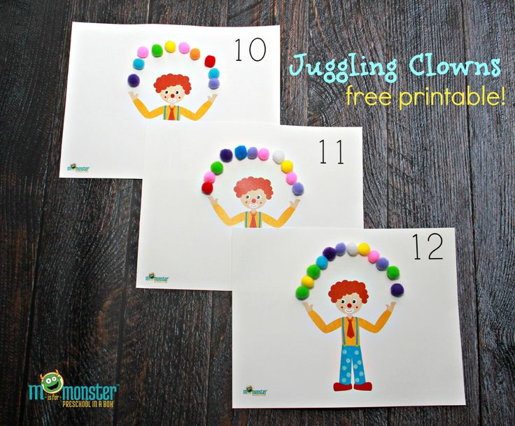 Juggling Clown Counting activity for toddlers and preschoolers~ FREE PRINTABLE from www.misformonster.com