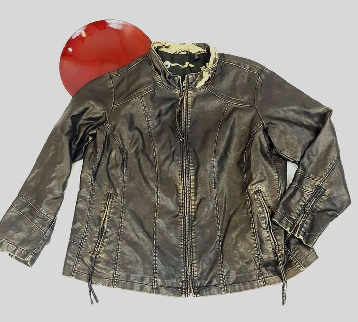 Big Chill Vintage Womens Faux Leather Jacket 1X XL Distressed Brown/Gold Zip Up #BigChill #Motorcycle