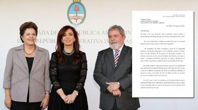 """CRISTINA REVELO UNA """"CARTA URGENTE"""" QUE LE ENVIO LULA POR EL GOLPE A DILMA   Cristina reveló una """"carta urgente"""" que le envió Lula por el Golpe a DilmaLa ex presidenta difundió a través de su cuenta de Facebook un e-mail que le envió el ex mandatario brasileño por la situación que atraviesa Rousseff. Afirma que la oposición busca """"prohibir"""" al Partido de los Trabajadores y de esa manera evitar su postulación de cara a las elecciones presidenciales del 2018. La ex presidenta Cristina Kirchner…"""
