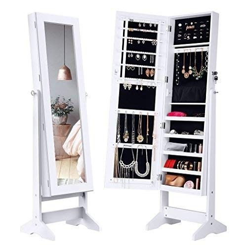 075bf4793 Full Length Mirror Jewelry Organizer Free Standing Tilting Cabinet Armoire  White #WalltoWallProducts