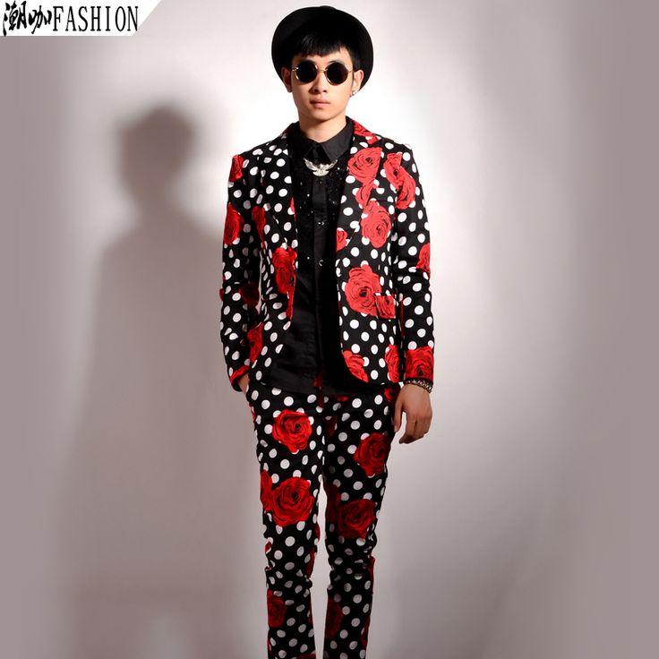 Mens Floral Blazer 【title】 2015 New Mens Flower Blazer Polka Dot Print ᑐ  Blazer Party Club Vintage Veste Costume Homme Mens Floral Blazer 2015 New  Mens ...