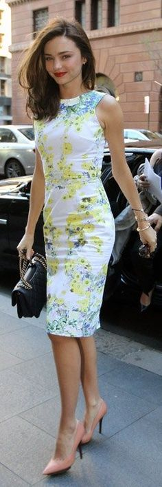 Miranda Kerr in a printed shift dress.....the type of attire for summer assemblies