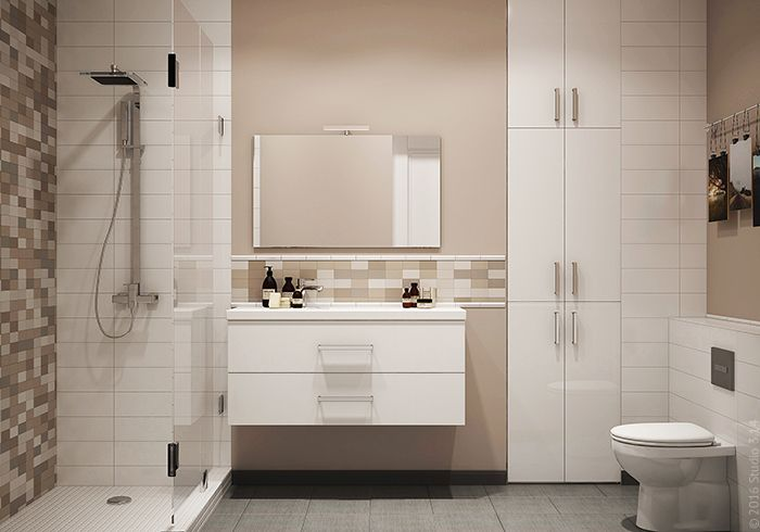 Встроенный шкаф-пенал и комод под раковиной составляют систему хранения помещения.