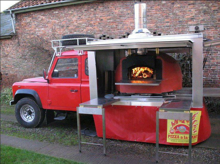 Such an awesome design for a brick oven pizza truck - Defender pizzaria