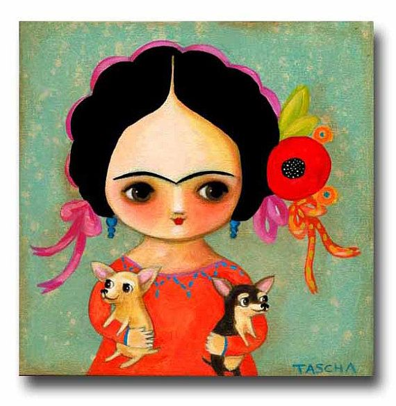 ORIGINAL Portrait painting FRIDA Kahlo with two CHIHUAHUAS cute folk art acrylic painting by tascha