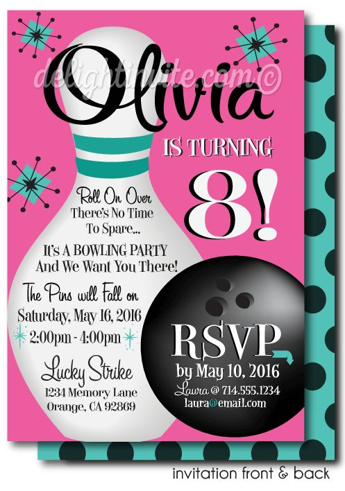 Printable Digital Retro Pink Bowling Birthday Invitations [DI-205DP] : Custom Invitations and Announcements for all Occasions, by Delight Invite