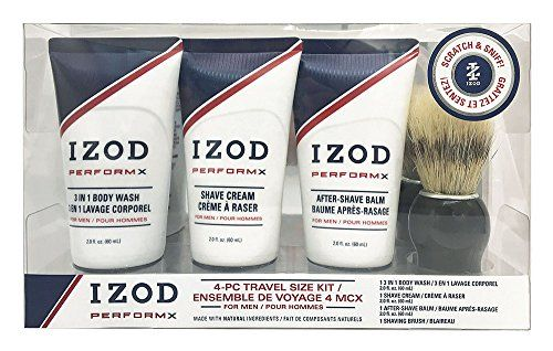 #Izod #Mens 4-Piece #Travel #Size #Toiletry #Kit with #Wooden #Shave #Brush, #Shaving #Cream, After-Shave #Balm & #Body #Wash PACK EASY: Izod's #Mens #Toiletry #Kit makes packing for your next trip simple. Save time, money and space in your suitcase with this convenient all-in-one grooming set. WHAT'S INCLUDED: Set features a #travel bag, #Wooden #Shaving #Brush, After-Shave #Balm, and 3-in-1 #Body #Wash. YOUR CHOICE: Our #travel grooming #kit is available in Izod's Classic a