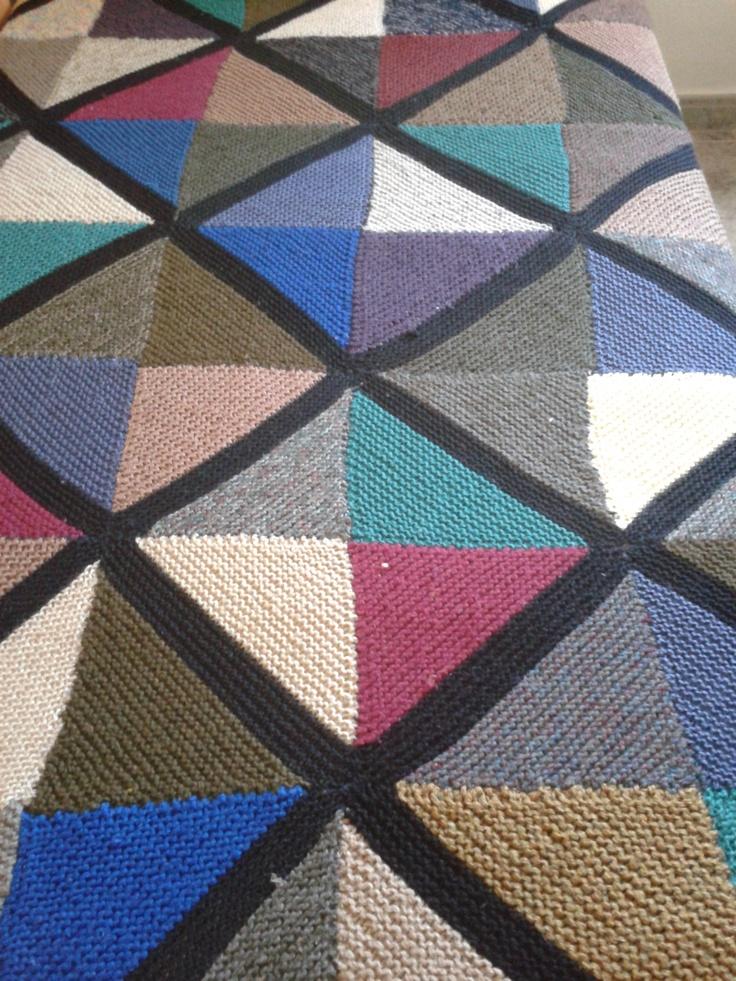 Manta con restos de lana punto pinterest - Lana gorda para mantas ...