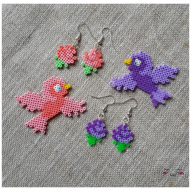 Birds (and flower earrings) hama mini beads by 8bitbon