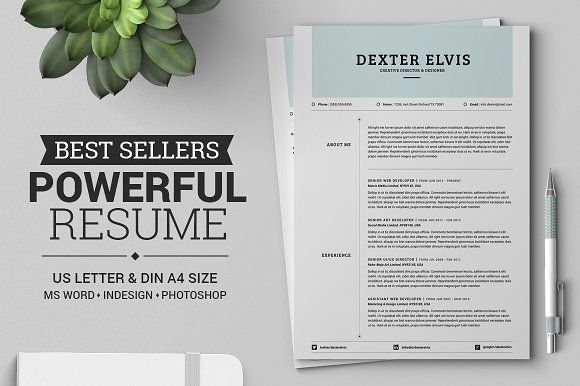 Best Sellers 2 Pages Powerful Resume by SNIPESCIENTIST on @creativemarket