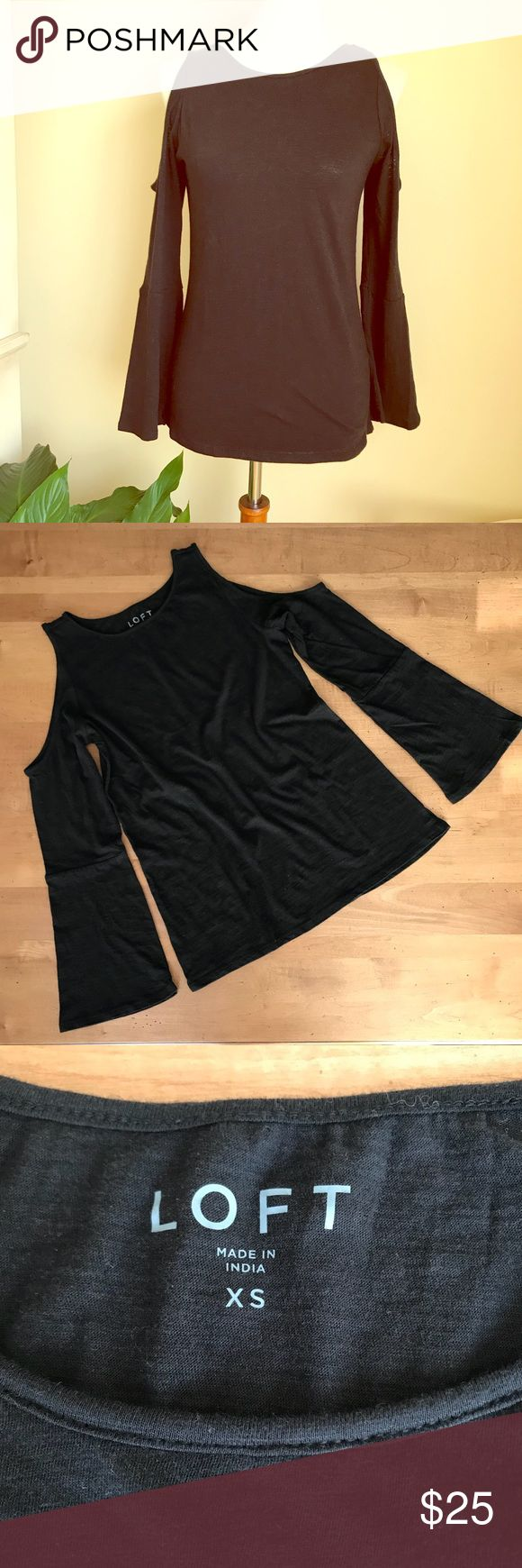🎉HP🎉Anne Taylor LOFT cold shoulder top Anne Taylor LOFT Cold Shoulder T-Shirt with bell sleeves. Looks great with jeans! NWT. LOFT Tops Tees - Long Sleeve