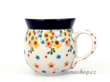 Spring pattern BUBBLA MUG  0,25 l . This Handmade Polish Pottery mug is from ELIMAshop.cz . Boleslawiec . Bunzlau . ceramics . stoneware . spring design ( buclák malý 0,25l )