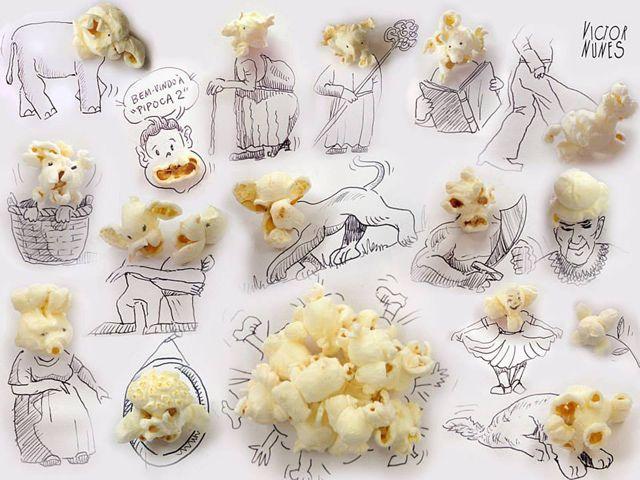 線畫與日常生活物品的生動呈現 Victor Nunes幫爆米花帶入活潑想像