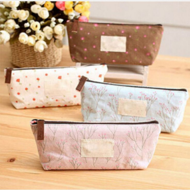 Best Selling Flower Floral Pencil Pen Canvas Pencil Cases Cosmetic Makeup Tool Bag Money Storage Pouch Purse Free Shipping